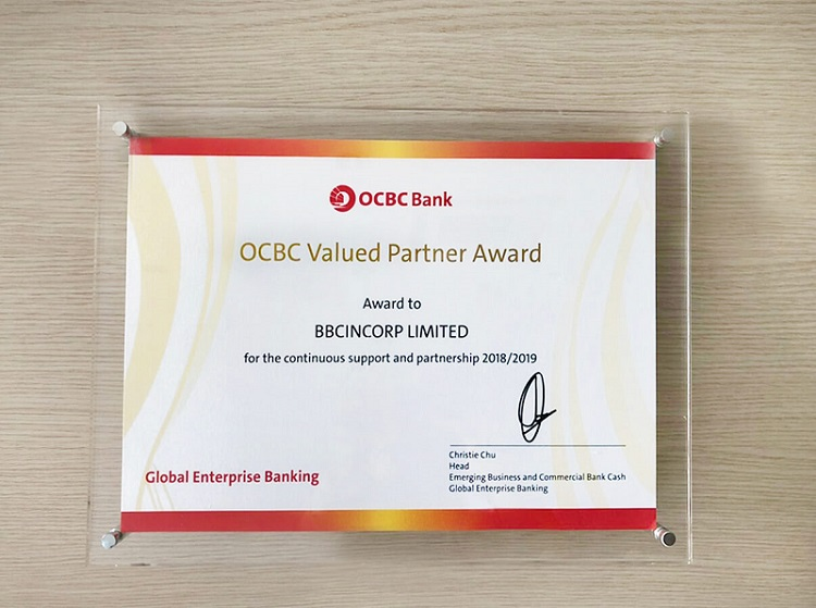 BBCIncorp Limited - OCBC Valued Partner Award