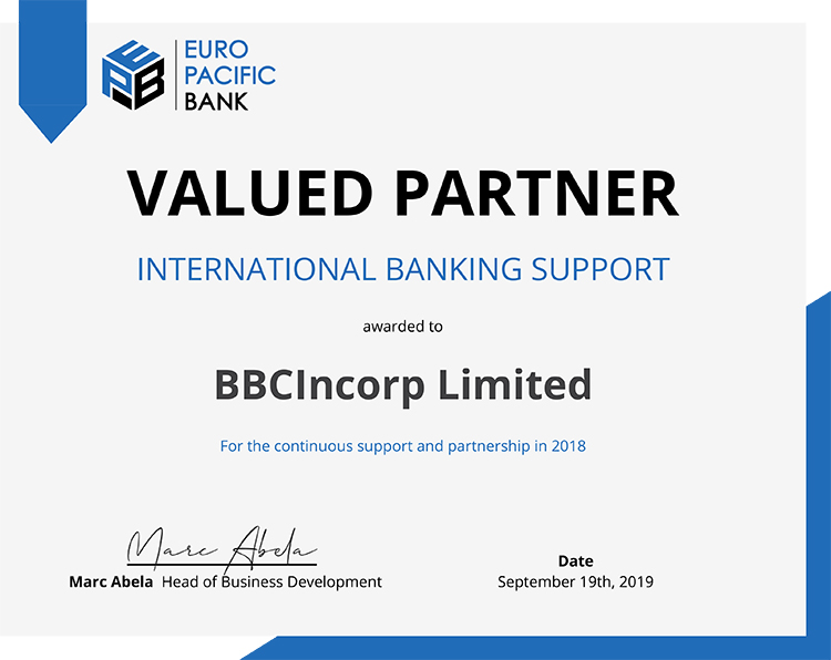BBCIncorp earned Europe Pacific Bank's Valued Partner