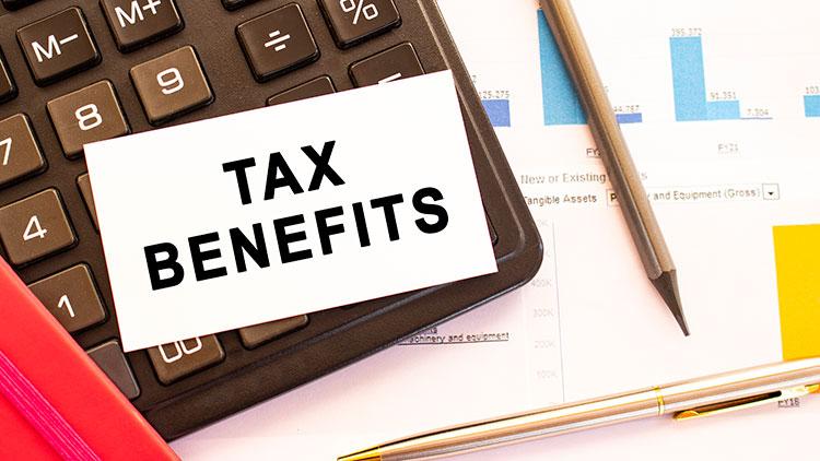 tax benefits card on a calculator