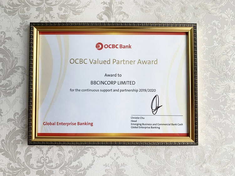 BBCIncorp Limited received OCBC Valued Partner Award