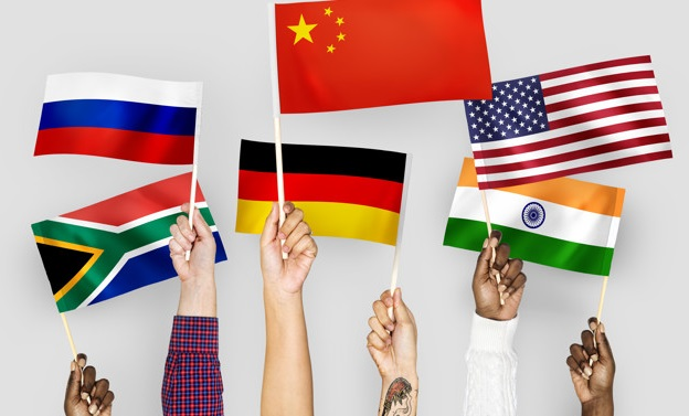 People holding different national flags