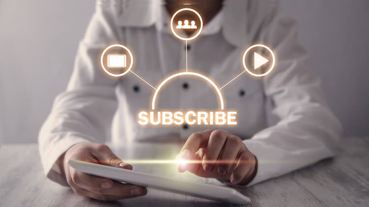 man subscribing new products