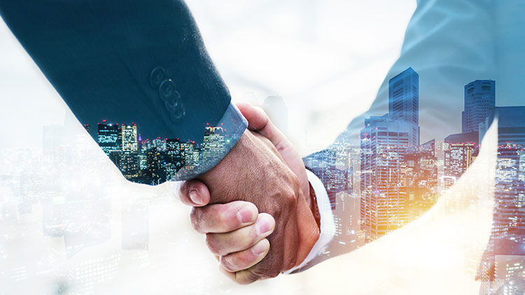 man shaking hand with business partner