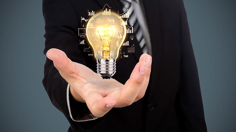 a man with a bulb