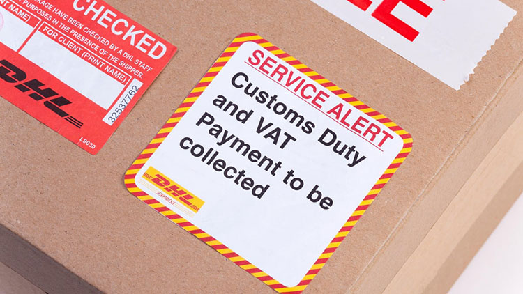 custom duty notice on good package