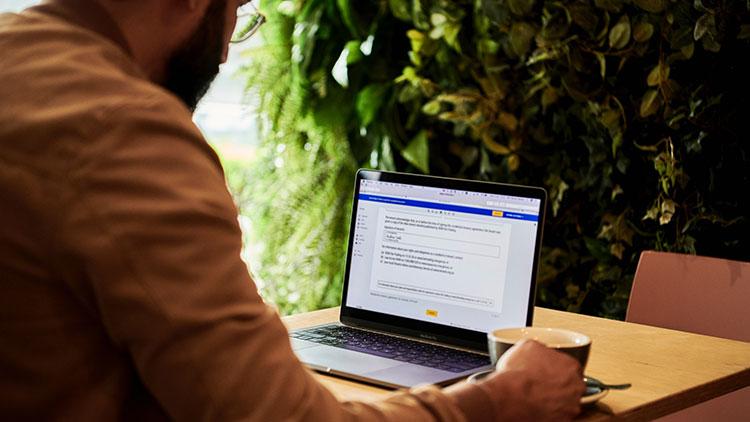 a man using computer